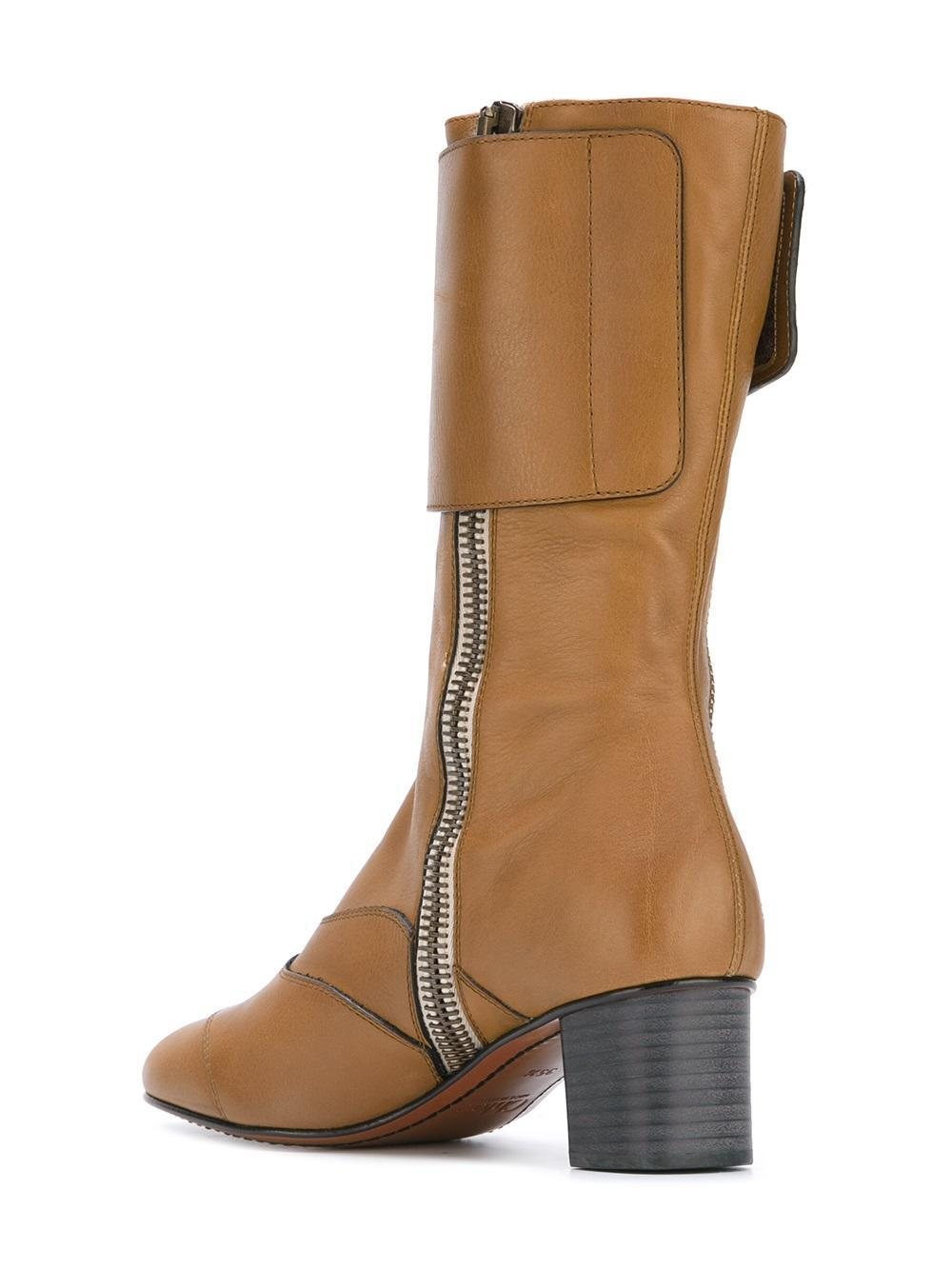 Chloé Lexie Leather Mid-calf Boots in Green