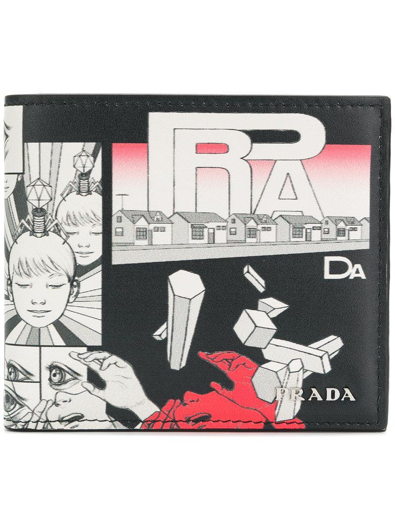 7de8d257e8c560 Prada Comic Print Wallet in Black for Men - Lyst