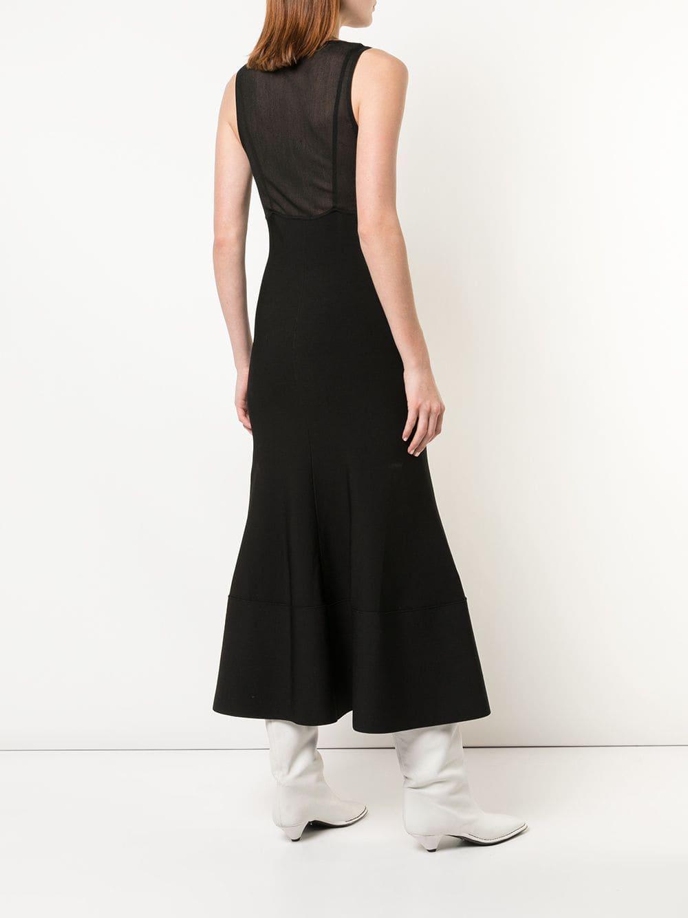 Robe mi-longue en maille à design sans manches Proenza Schouler en coloris Noir