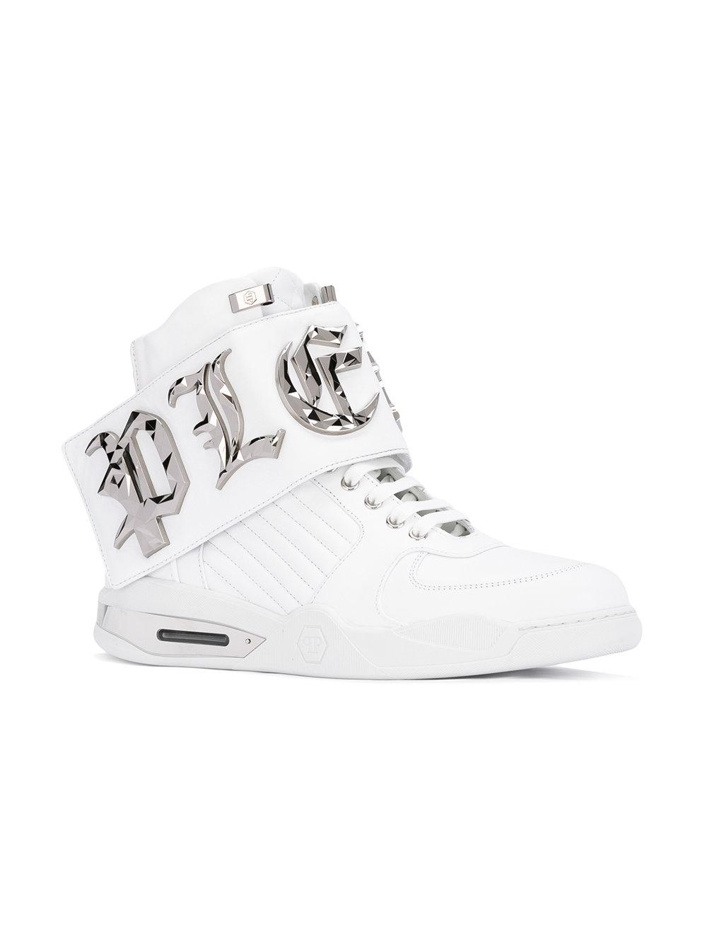 Philipp Plein Leather Embellished High Top Sneakers In