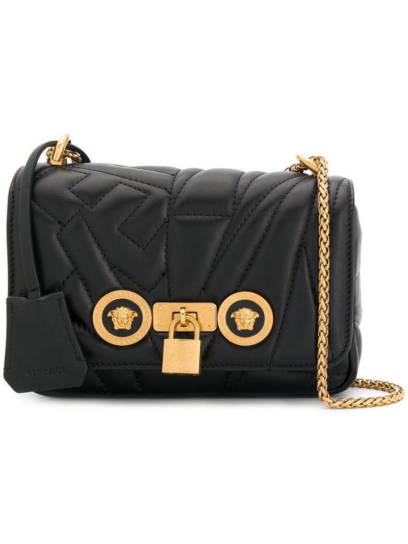 dfa152a55916 Versace Medusa Stud Icon Bag in Black - Lyst