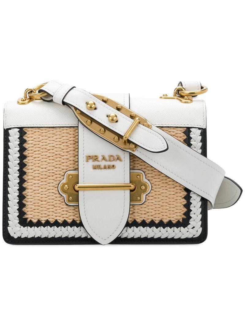 5ed2f3ddb1fe Lyst - Prada Cahier Straw Shoulder Bag in White