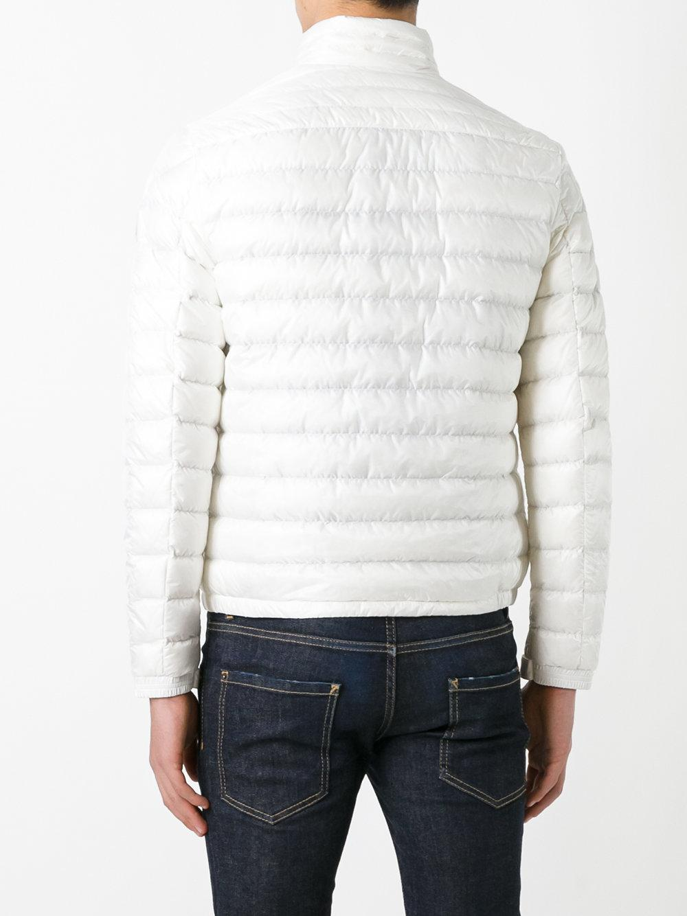 Moncler Leather Classic Padded Jacket in White for Men