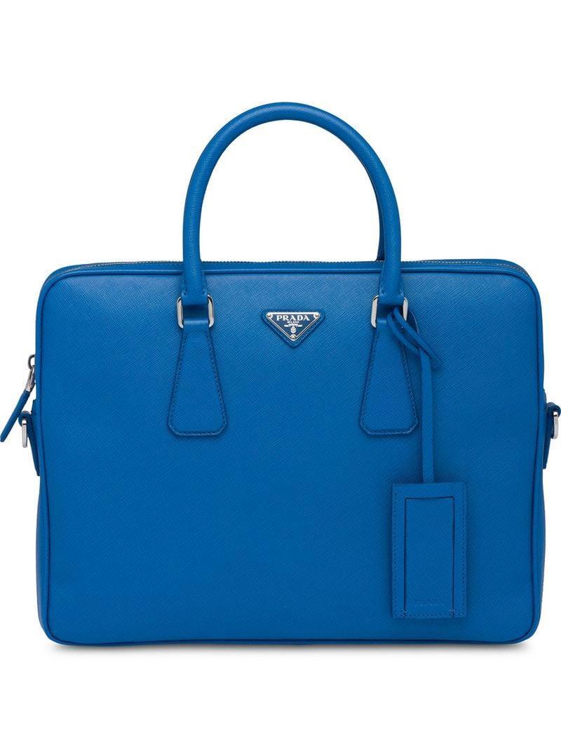 3fb29c03ff98 Prada - Blue Leather Briefcase for Men - Lyst. View fullscreen