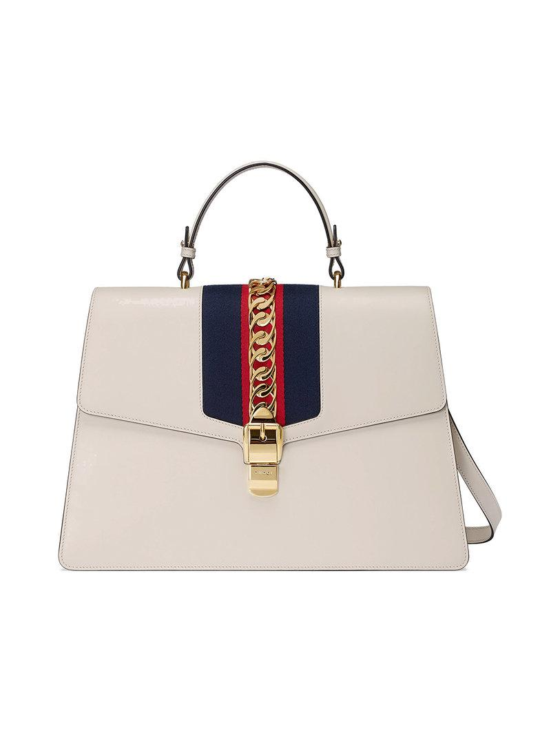 d52df9cefd1796 Gucci Sylvie Leather Large Top Handle Bag in White - Lyst