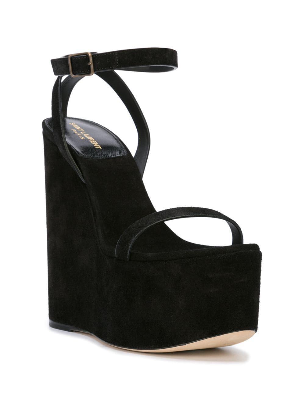 81988e12cf8 Saint Laurent Espadrille Wedge Sandals in Black - Lyst