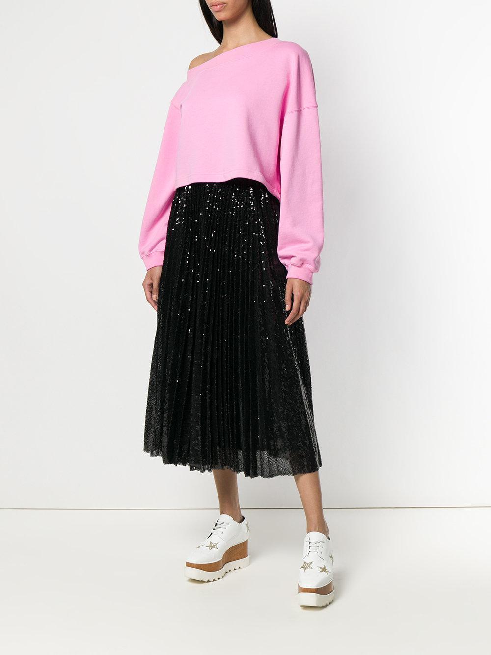 Pleated sequin midi skirt MSGM en coloris Noir