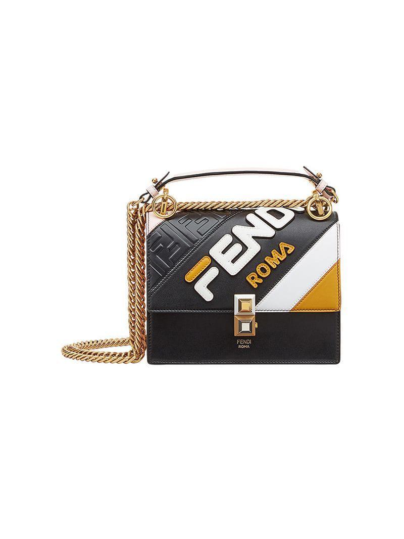 f294f6e6ddf6 Fendi Mania Kan I Small Shoulder Bag in Black - Lyst