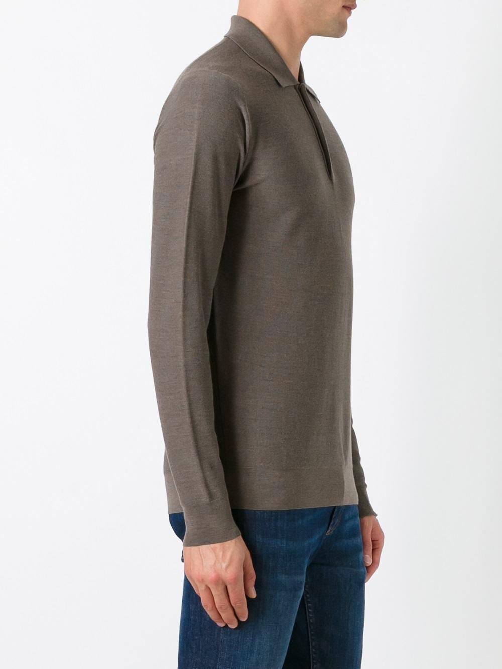 Pull à col façon polo Laines Fashion Clinic pour homme en coloris Marron
