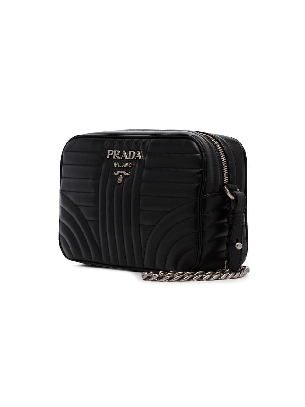 ccf212734b1 Lyst - Prada Black Diagram Quilted Leather Cross Body Bag in Black