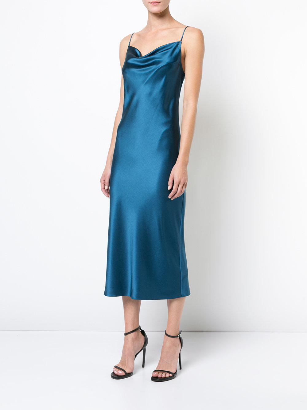Fleur Du Mal Silk Cowl Neck Slip Dress In Blue Lyst