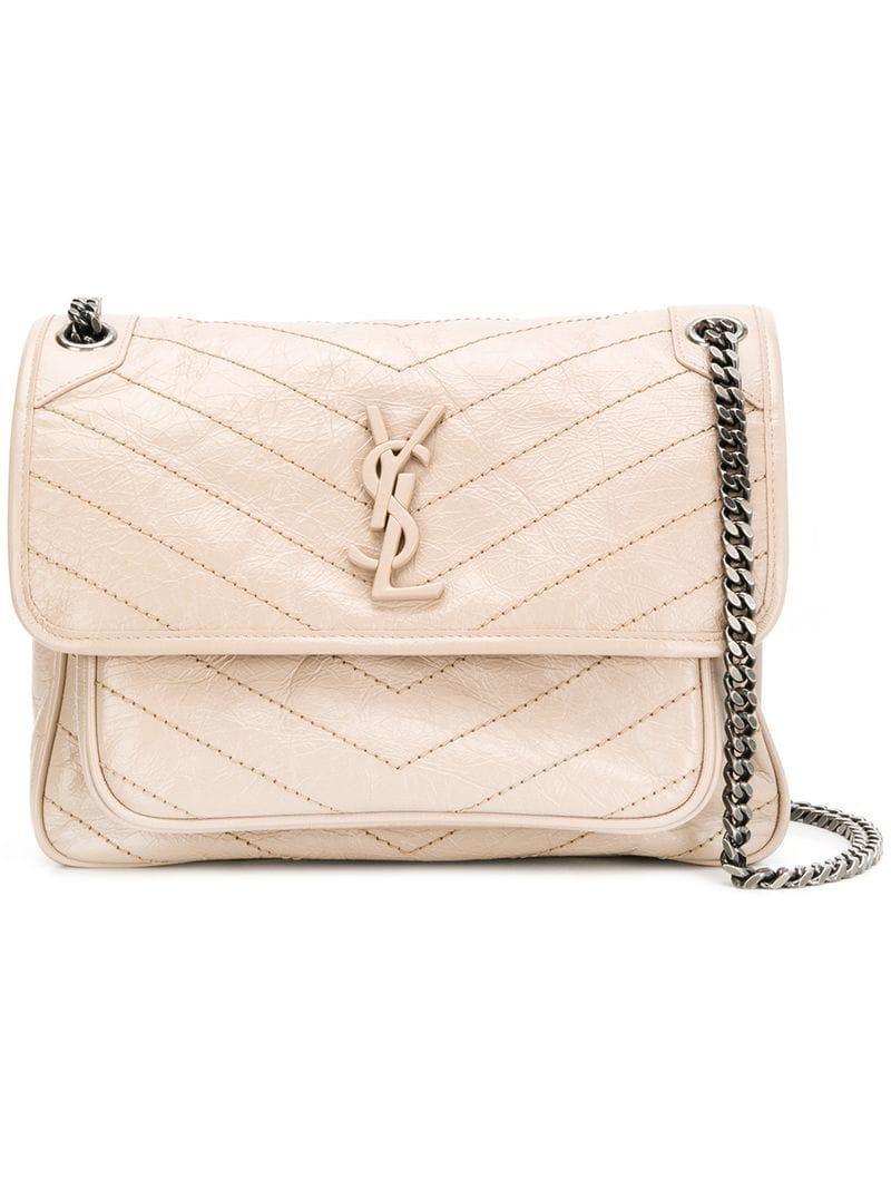 1c56577670 Saint Laurent Baby Niki Shoulder Bag in Natural - Lyst