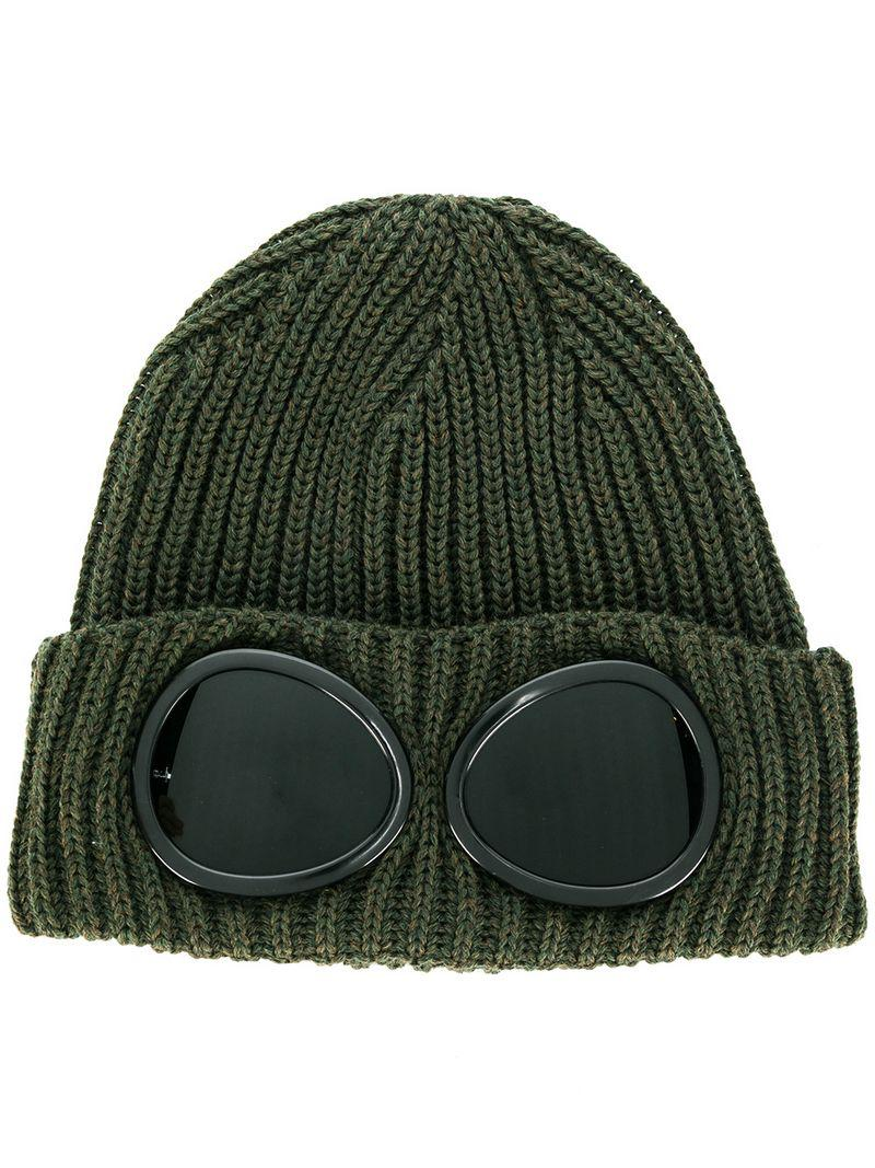 7374af1905c C P Company Glasses Knit Cap in Green for Men - Lyst
