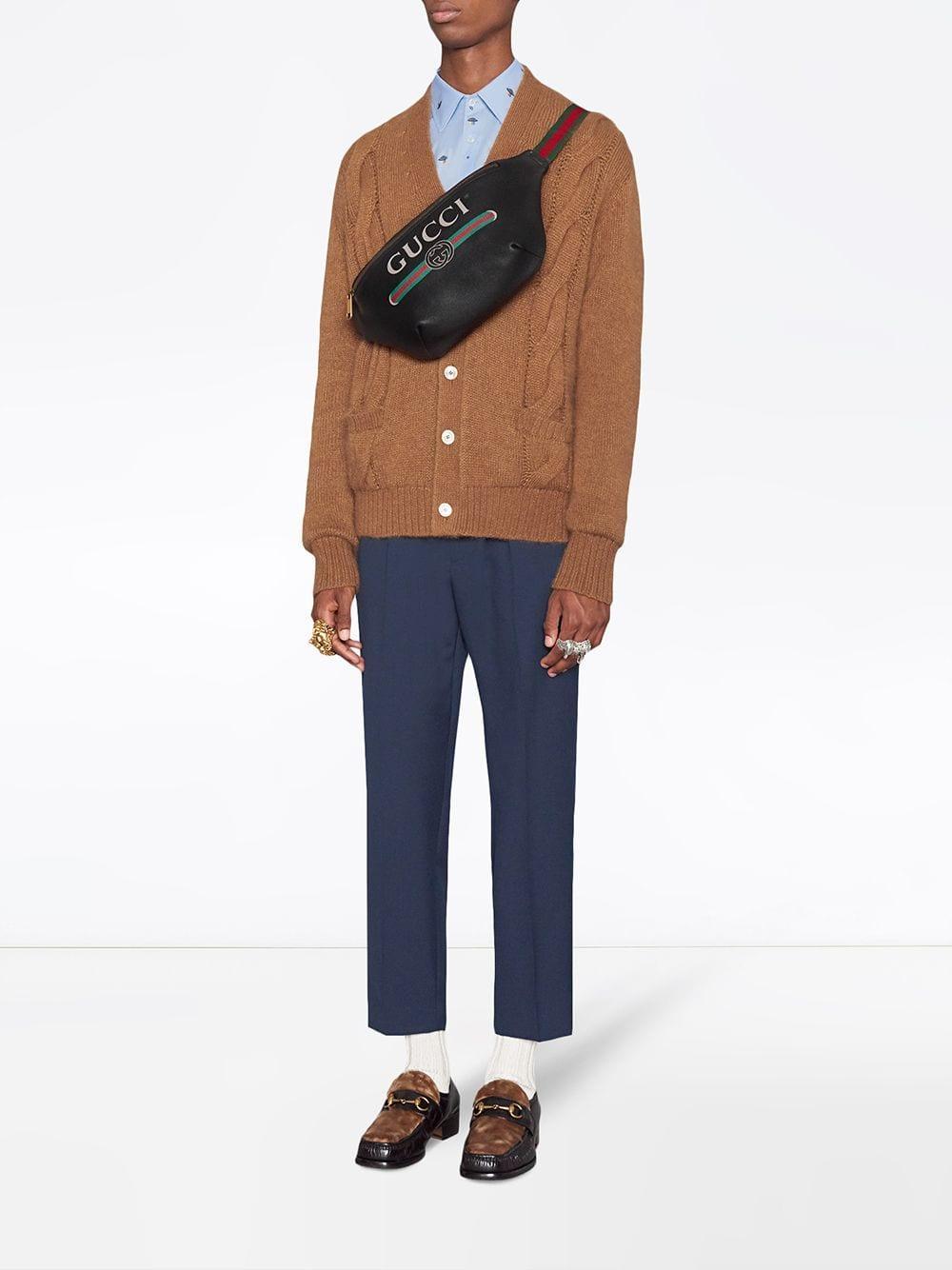 d8f7a268fc4ac1 Gucci Black Print Leather Belt Bag in Black for Men - Lyst