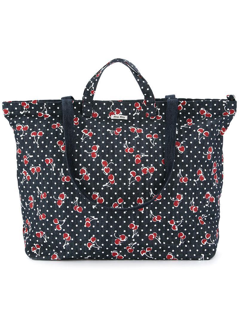 Lyst - Miu Miu Cherry Print Tote Bag in Blue 825b248daba04