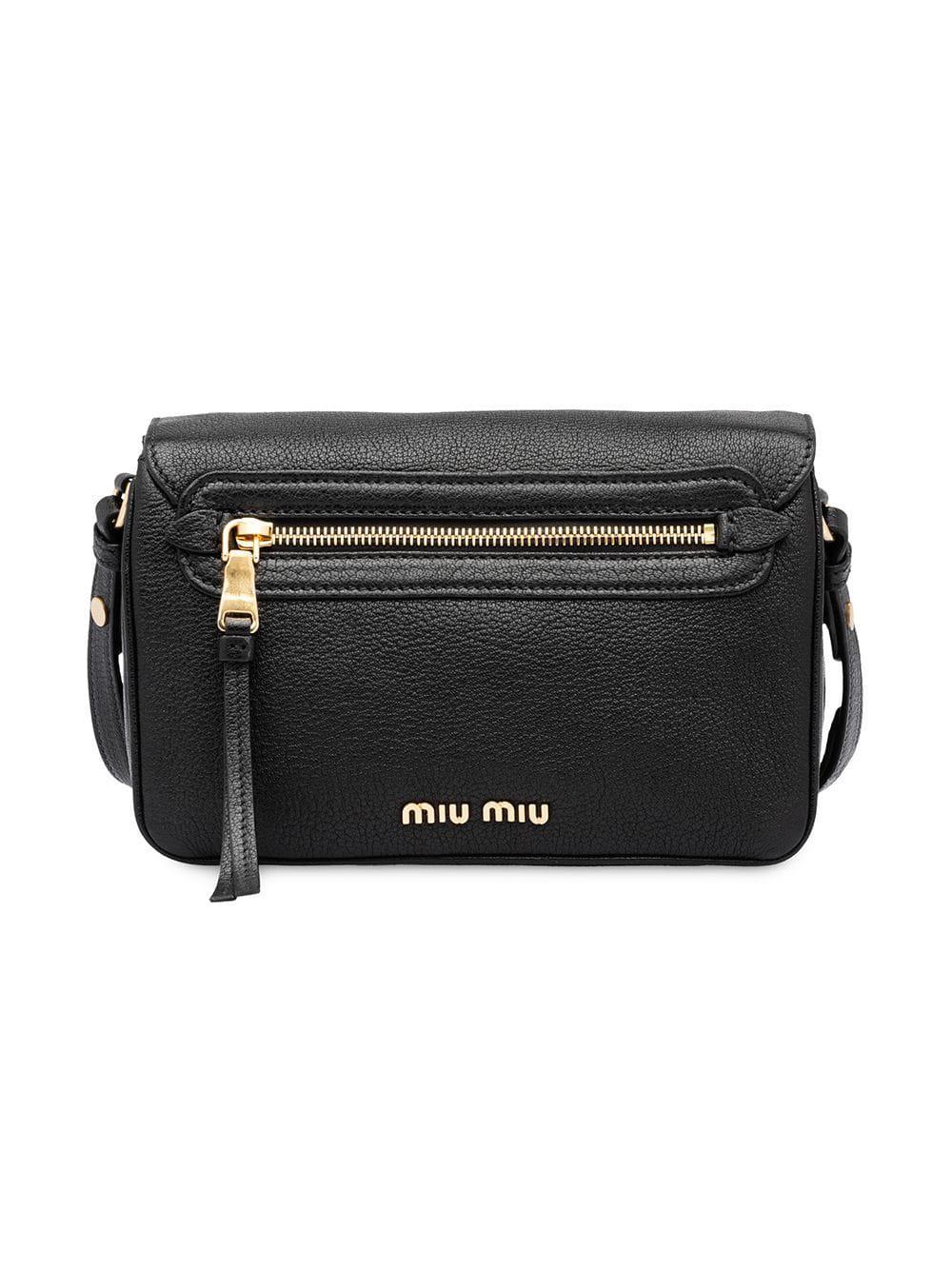 c2a0def07d1f Miu Miu - Black Foldover Top Shoulder Bag - Lyst. View fullscreen