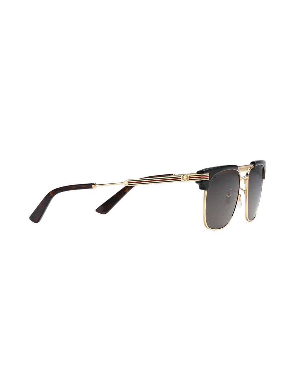 8032aac562 Gucci - Metallic Square-frame Metal Sunglasses for Men - Lyst. View  fullscreen