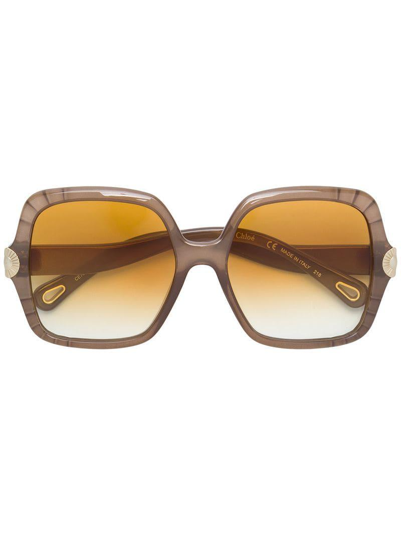 6cecf6f62fa Chloé - Multicolor Scallop Edge Oversize Sunglasses - Lyst. View fullscreen