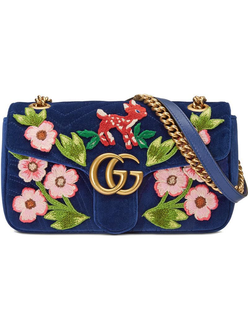 c09f88ed524 Gucci GG Marmont Velvet Small Shoulder Bag in Blue - Save 11% - Lyst