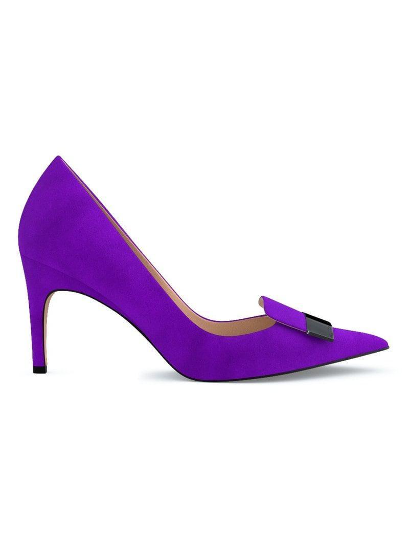 Lyst - Zapatos de tacón con placa del logo Sergio Rossi de color Morado a21c6bf7260d