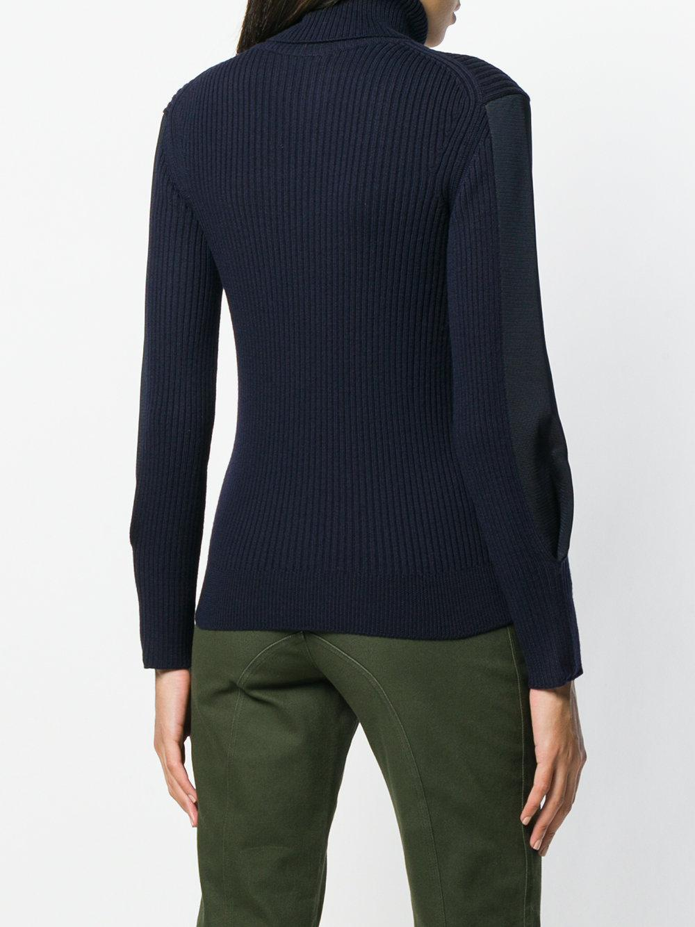 Chloé Wool Roll-neck Fitted Sweater in Blue