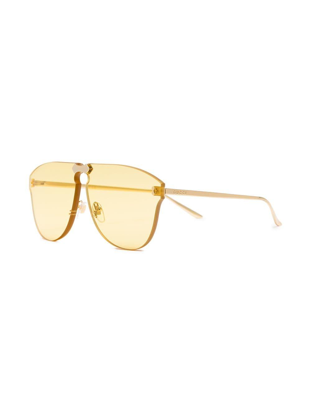 5302fc5a392 Lyst - Gucci Yellow Aviator-frame Rimless Sunglasses in Yellow - Save 1%