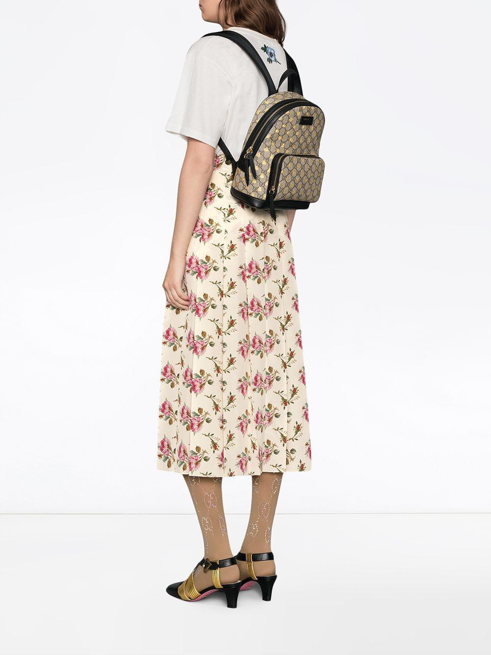Lyst - Gucci GG Supreme Bees Backpack in Black 4539cbe6e4e36