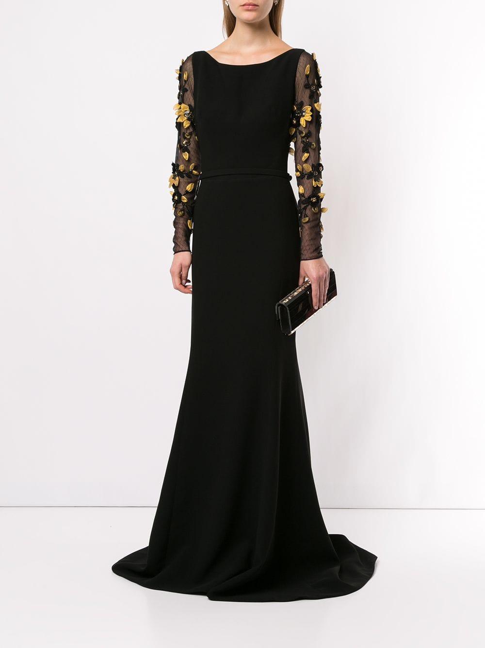 Robe longue à fleurs Saiid Kobeisy en coloris Noir