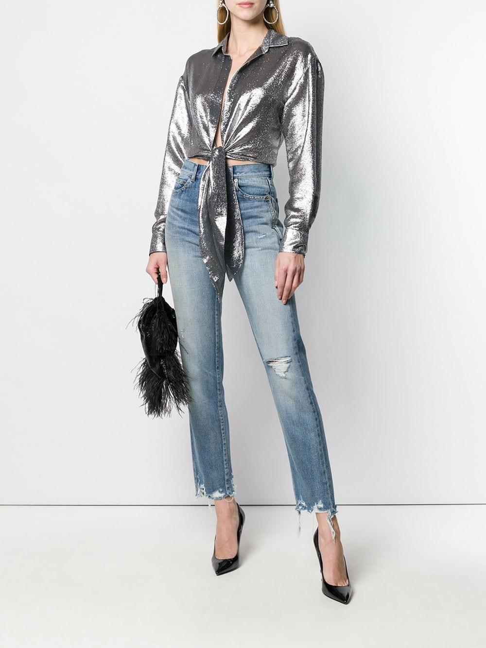 42b66d0f Alexandre Vauthier Tie Knot Cropped Shirt in Metallic - Save 48% - Lyst