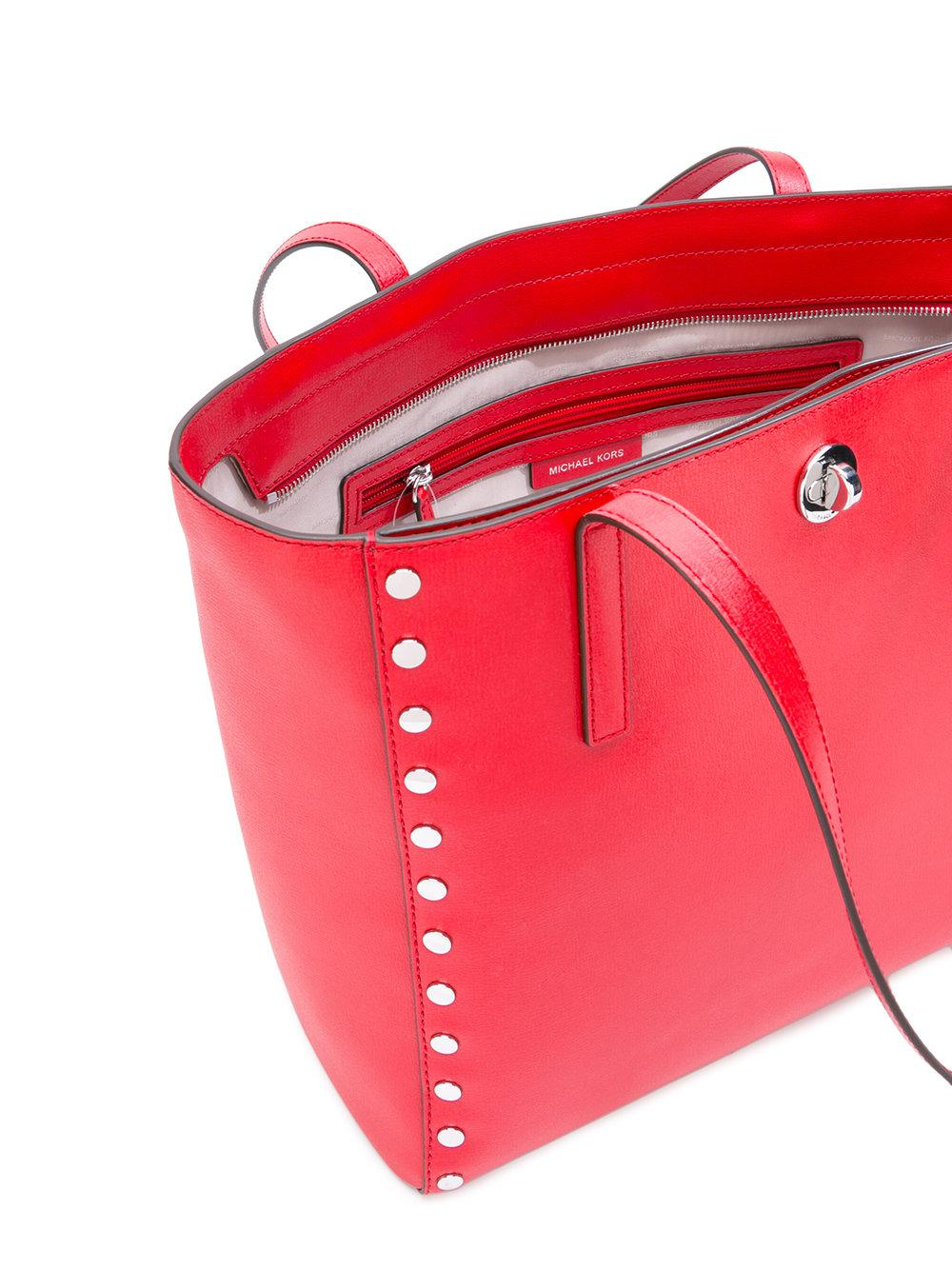 MICHAEL Michael Kors Leather Rivington Tote in Red