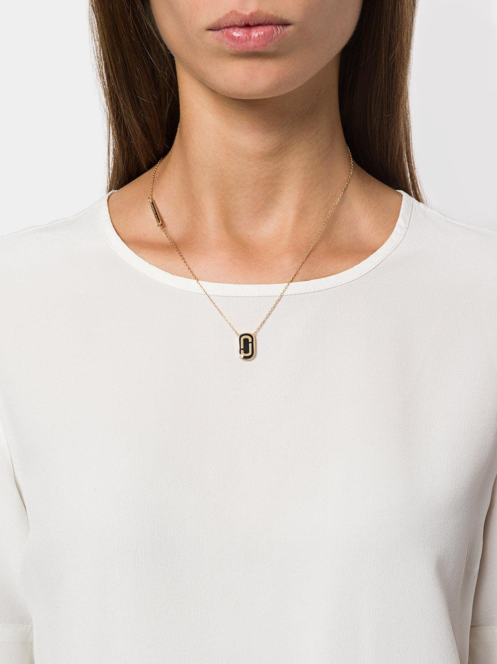 Marc Jacobs Icon Enamel Pendant Necklace in Black & Gold (Metallic)