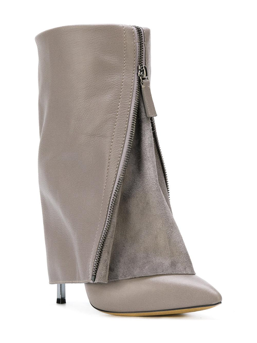 Casadei Suede Foldover Ankle Boots in Grey (Grey)