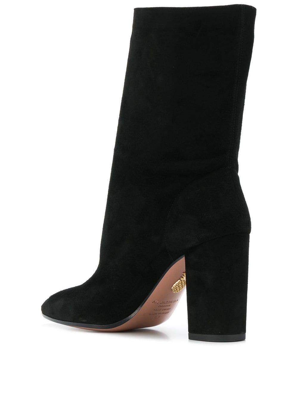 Botas con caña media y tacón grueso Aquazzura de Cuero de color Negro