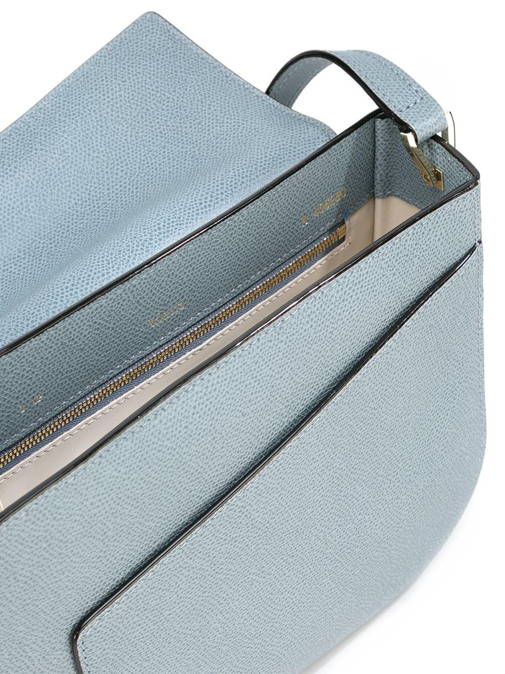 Valextra Leather 'twist' Crossbody Bag in Blue