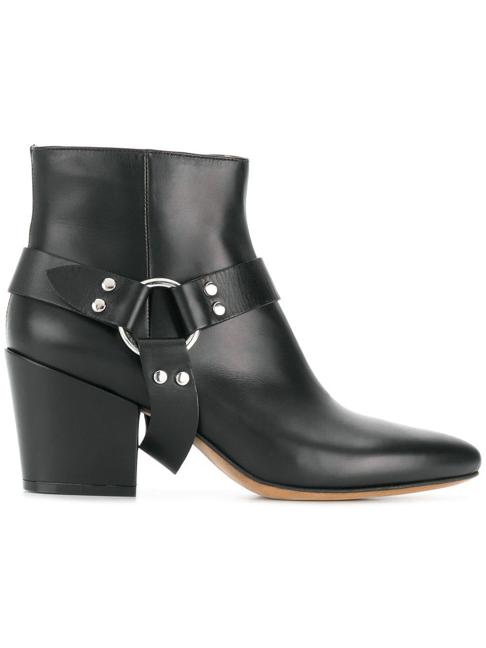 Buttero Leather Joseline Stirrup Boots in Black