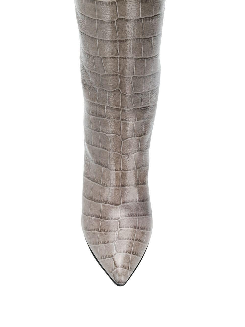 Botas con efecto de piel de cocodrilo Paris Texas de Cuero de color Gris