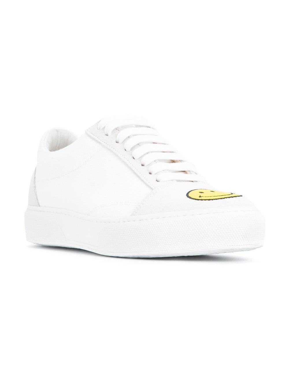 Joshua Sanders Leather Embroidered Smiley Face Sneakers in White