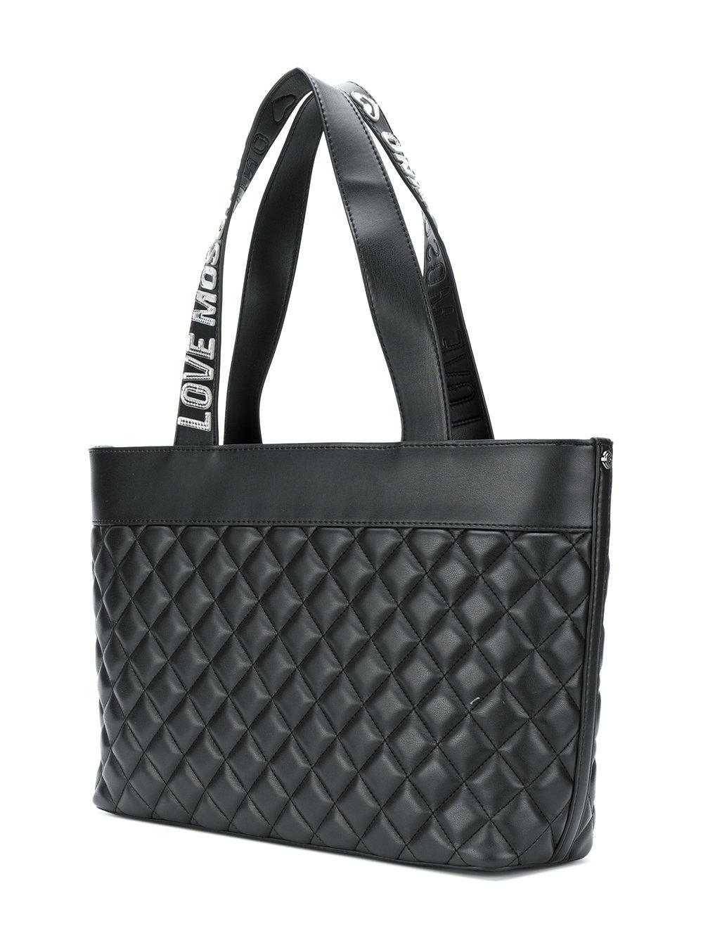 Love Moschino Diamond Quilted Tote Bag in Black