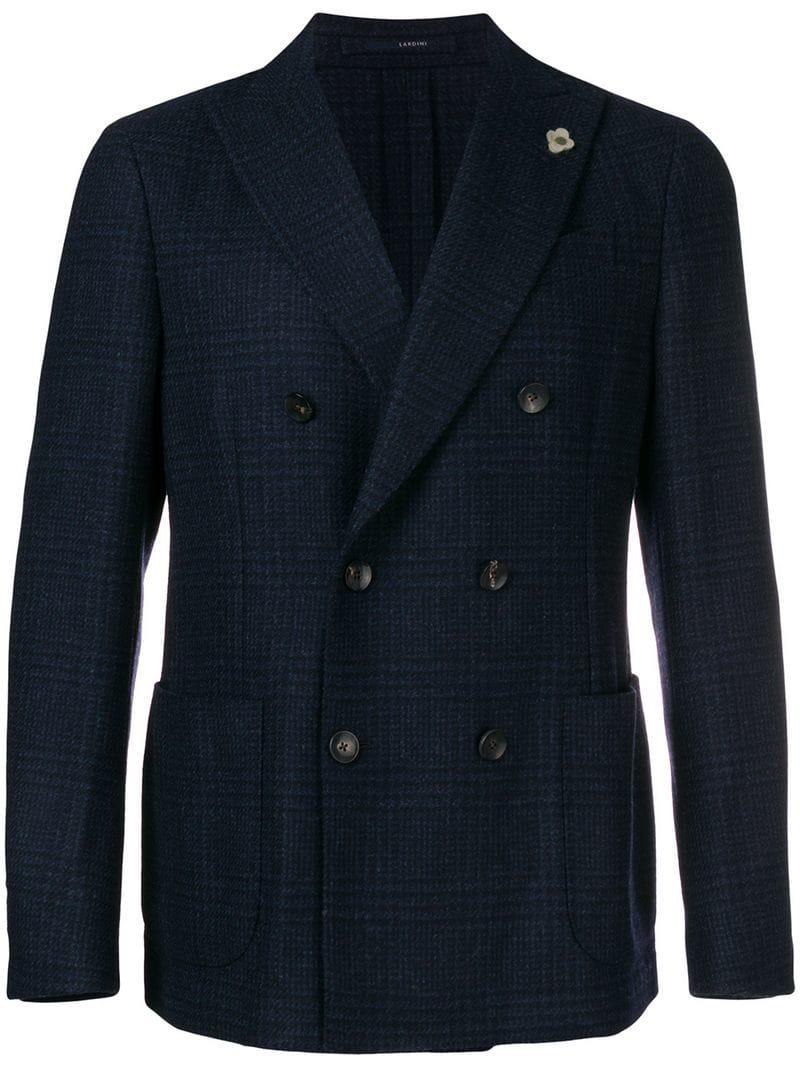 27663bc34af438 Lardini Double-breasted Check Blazer in Blue for Men - Lyst