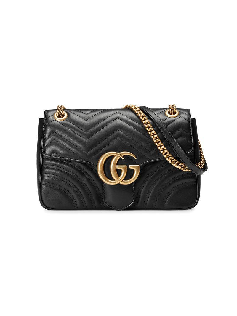 62a525116d8 Lyst - Sac porté épaule GG Marmont Gucci en coloris Noir - 38 % de ...