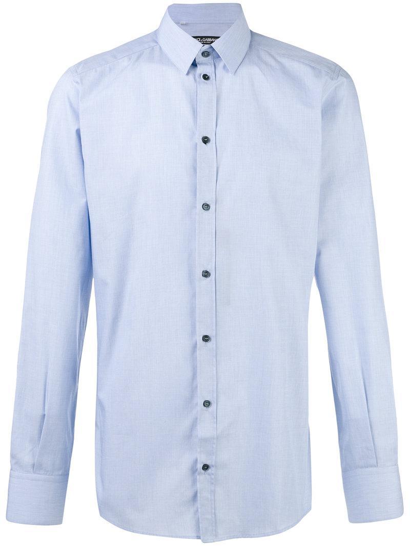 Lyst Dolce Gabbana Button Up Shirt In Blue For Men