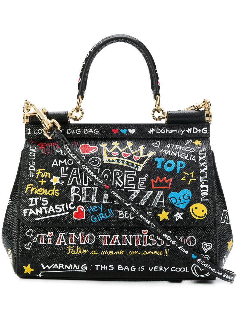 Dolce   Gabbana. Bolso de hombro pequeño con estampado de mural siciliano  de mujer ... abe5c59cbe84
