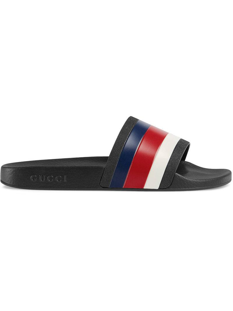 302a266e57e Gucci Rubber Slide Sandals in Black for Men - Save 8% - Lyst