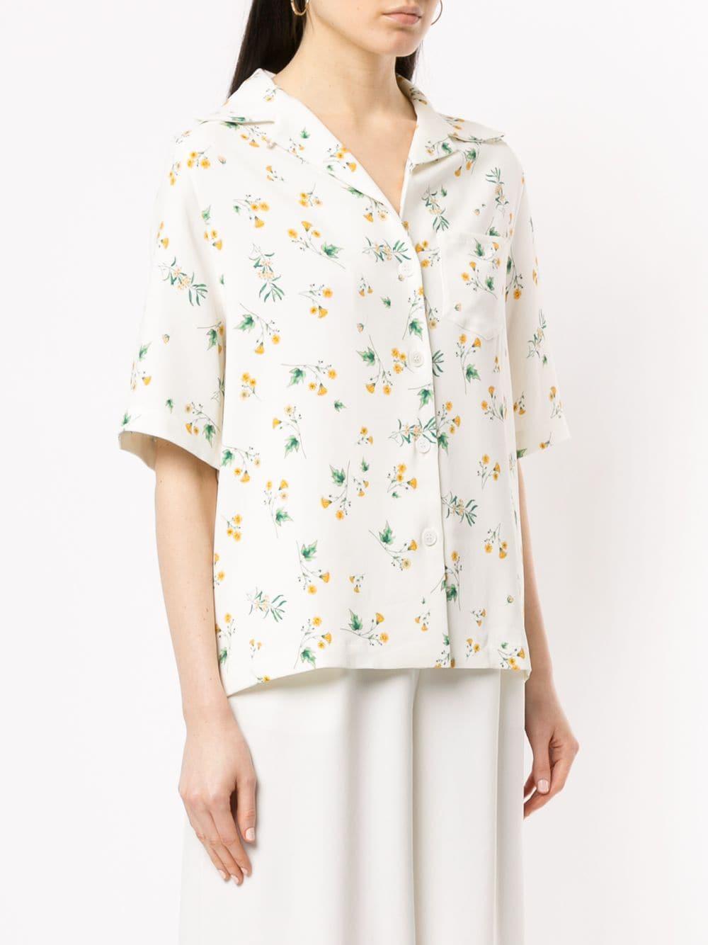 Chemise à fleurs Racil en coloris Blanc