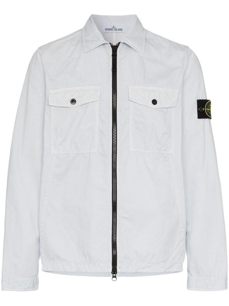4e25ff721 Stone Island Zip Shirt Jacket in Blue for Men - Lyst