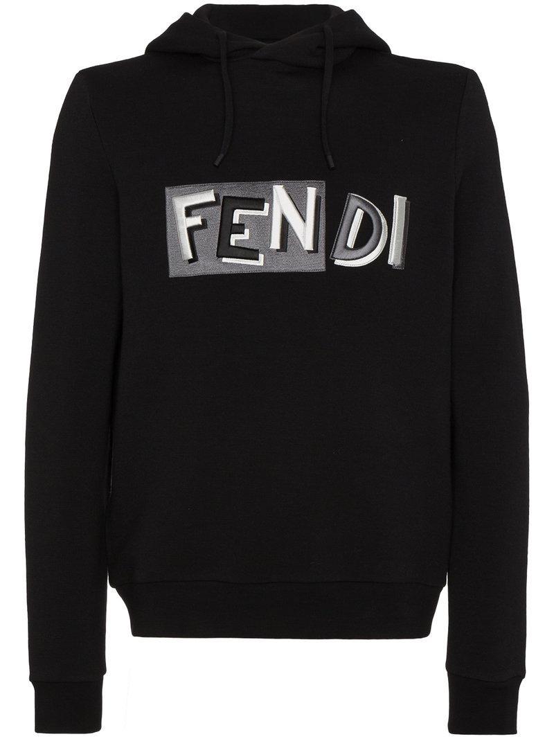 Fendi Logo Embroidered Hoodie In Black For Men Lyst