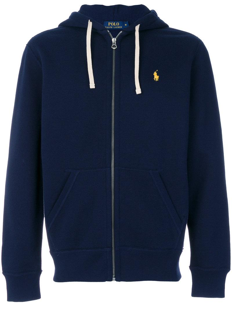 polo ralph lauren zipped hoodie in blue for men lyst. Black Bedroom Furniture Sets. Home Design Ideas