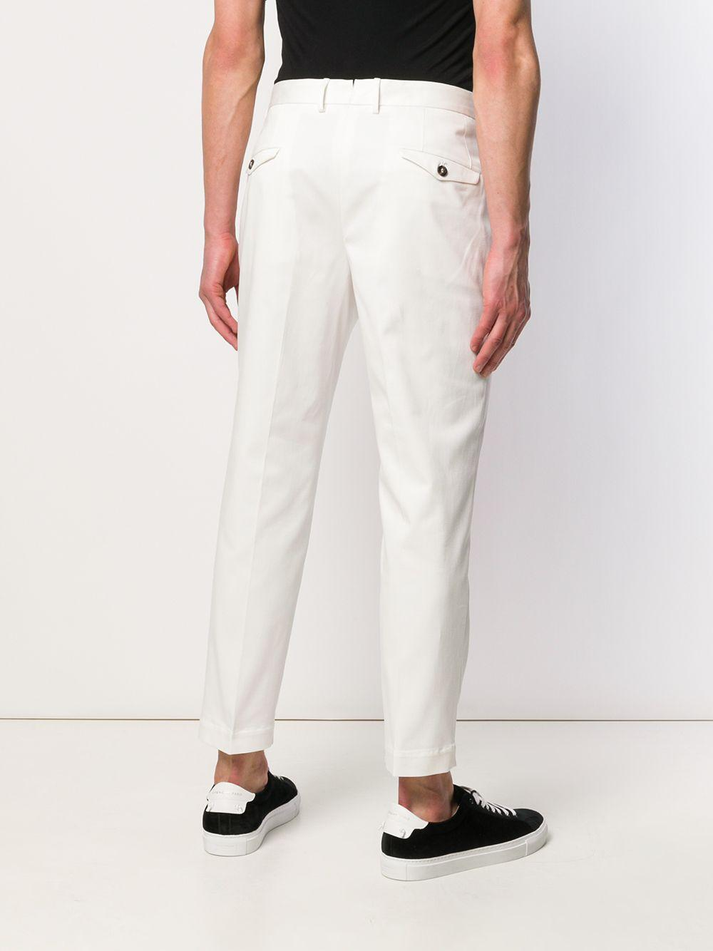 Dell'Oglio Katoen Chino Met Toelopende Pijpen in het Wit voor heren