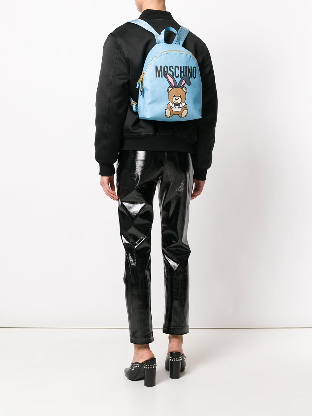 Moschino Playboy Teddy Backpack in Blue
