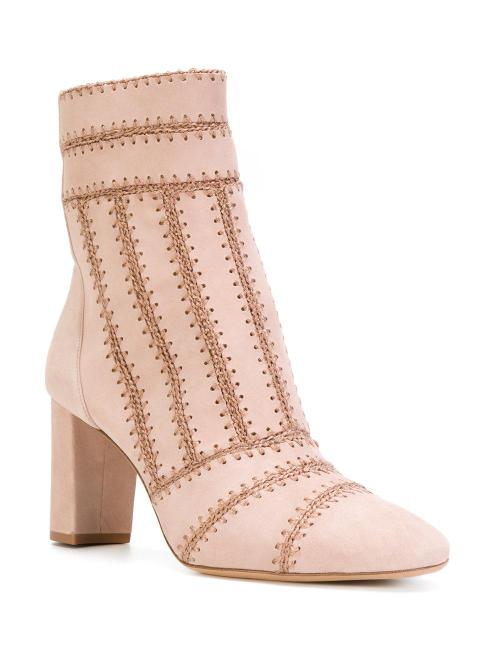 Alexandre Birman Suede Stitch Panelled Ankle Boots in Pink & Purple (Pink)